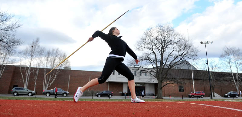 CLOSE TO MARK: Colby College senior thrower Tory Gray, a Farmington native and Mt. Blue High School graduate, is close to qualifying for the New England Division III championships in the javelin.
