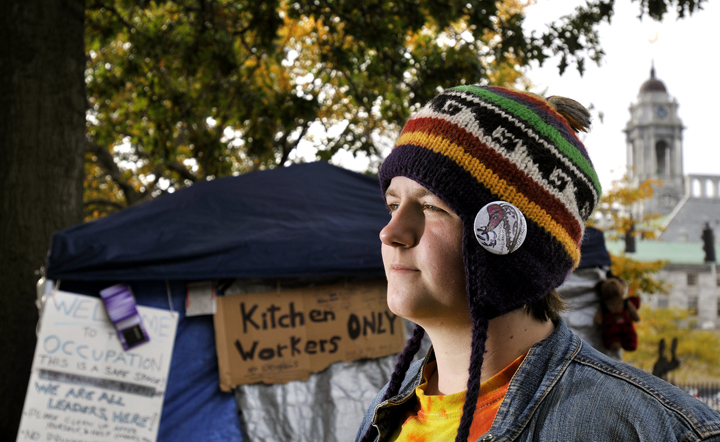 Stephanie Wilburn, 19, stands in the kitchen/communal area of the Occupy Maine camp. She was standing in the same areaaround 3:30 a.m. Sunday when a chemical bomb exploded underneath a table nearby. The bomb allegedly was thrown from a passing car. Wilburn said she lost hearing in one of her ears for about a day, but no other injuries were reported.