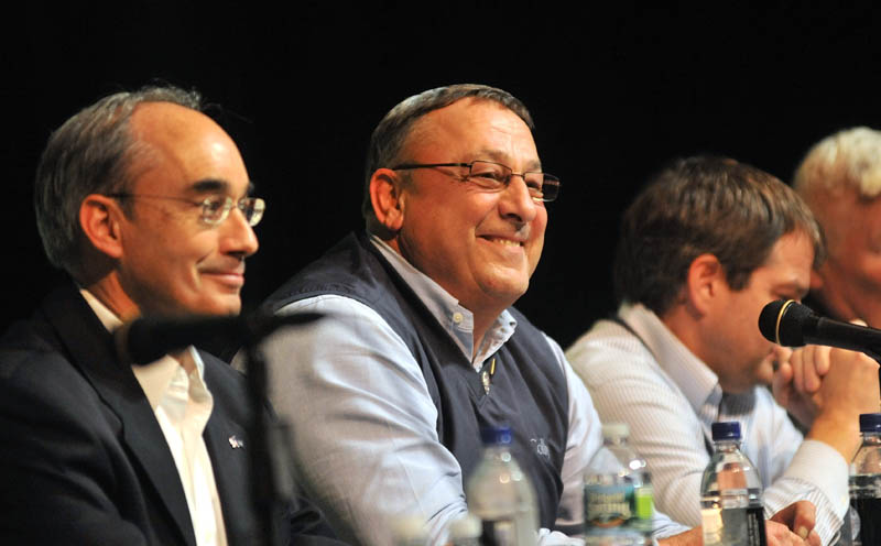 HAVING HIS DOUBTS: Gov. Paul LePage, center, said Thursday he doesn't think Maine can support five gambling facilities, just days before voters are set to decide the fate of two gambling-related referendum questions.