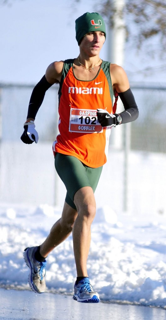 Recent Cony grad and University of Miami runner Luke Fontaine was the first male finisher in the Gasping Gobbler 5K Road Race to Benefit Cony High School Athletics Thursday in Augusta.