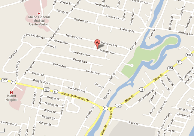 Map showing the location of 29 Violette Ave. in Waterville