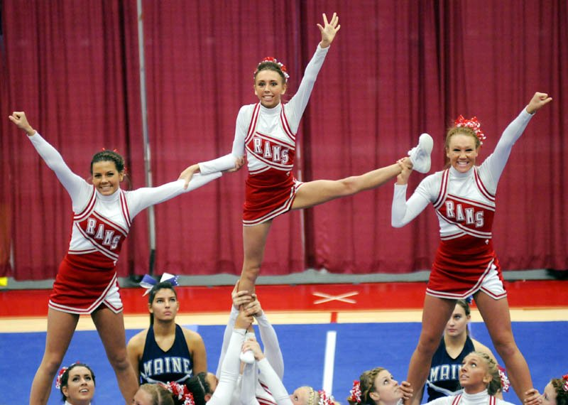The Cony High School cheerleaders compete in the KVAC cheering championship Monday in Augusta.