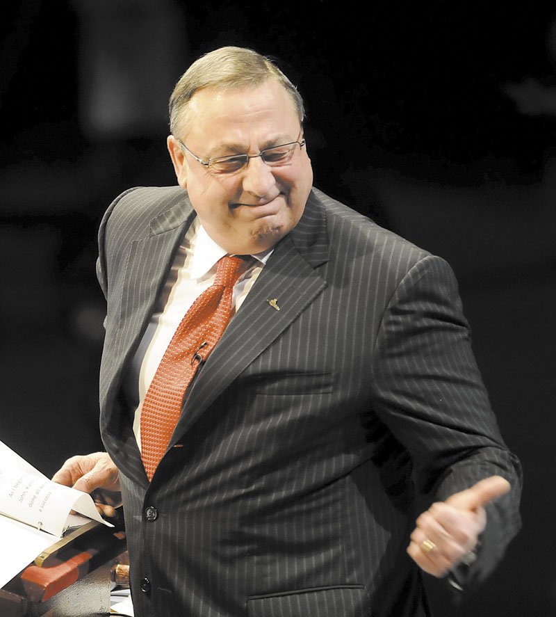 Gov. Paul LePage, seen above at his inauguration, give his State of the State speech Tuesday.