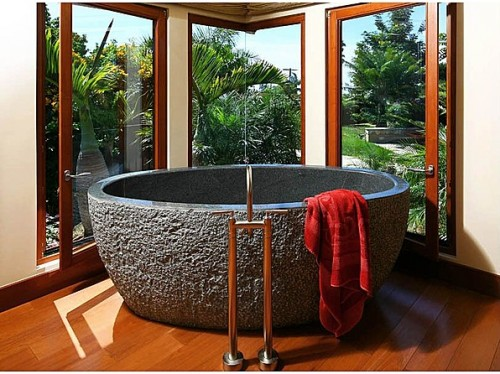 The tub in this La Jolla, Calif., home is made from a solid block of granite.