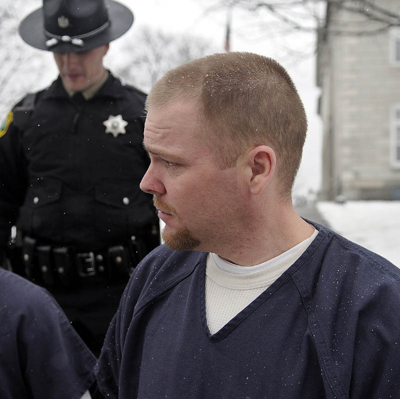 James Bickford, 33, is led from the Kennebec County Superior Court in Augusta on Tuesday after pleading guilty to gross sexual assault and a burglary charge stemming from an incident that occurred in July of 2011 in China.