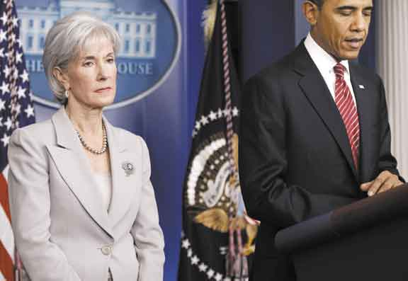 AP photo HELP OFFER: Health and Human Services Secretary Kathleen Sebelius, with President Barack Obama, during a recent news conference in Washington. Sebelius said Wednesday during a Senate Finance Committee hearing that she talked to Maine Gov. Paul LePage within the last two weeks about Maine's effort to grapple with Medicaid costs. In Maine, Medicaid is called MaineCare.