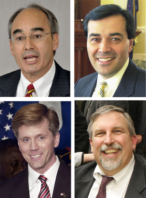 For big-name Maine Republicans entered the U.S. Senate race today in hopes of taking over Olympia Snowe's seat. From the top left, clockwise, they are: State Treasurer Bruce Poliquin, ex-Maine Senate President Rick Bennett Maine Attorney General Bill Schneider and Secretary of State Charlie Summers. Election 2010 Governor