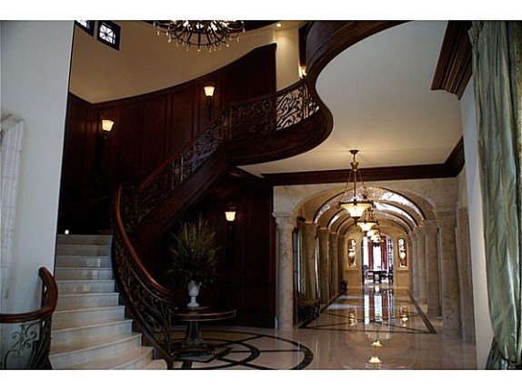 The home, on the market for $3.9 million, features a dramatic entryway.