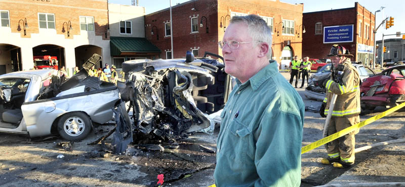 VEHICLE CARNAGE: Bob Woodsome talks about the six-car accident in Waterville on Sunday.