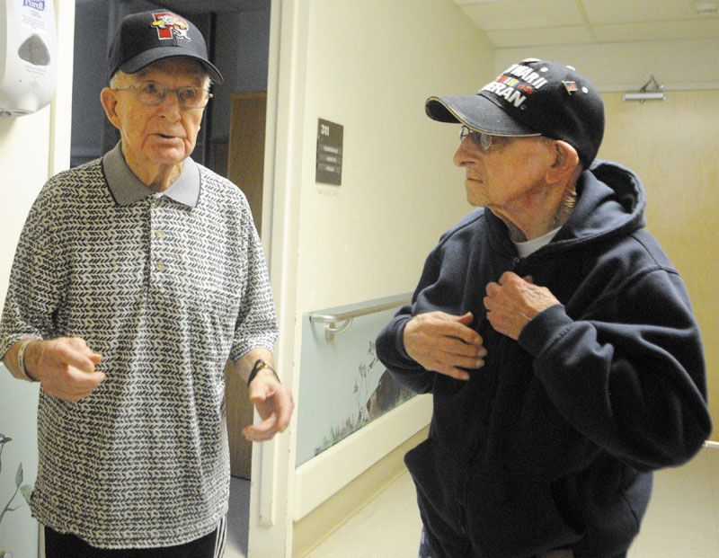 Army veterans Leon Audet, left, and Almo Nickerson served side-by-side on D-Day at Utah Beach in Normandy and are now roommates at Togus veterans hospital.