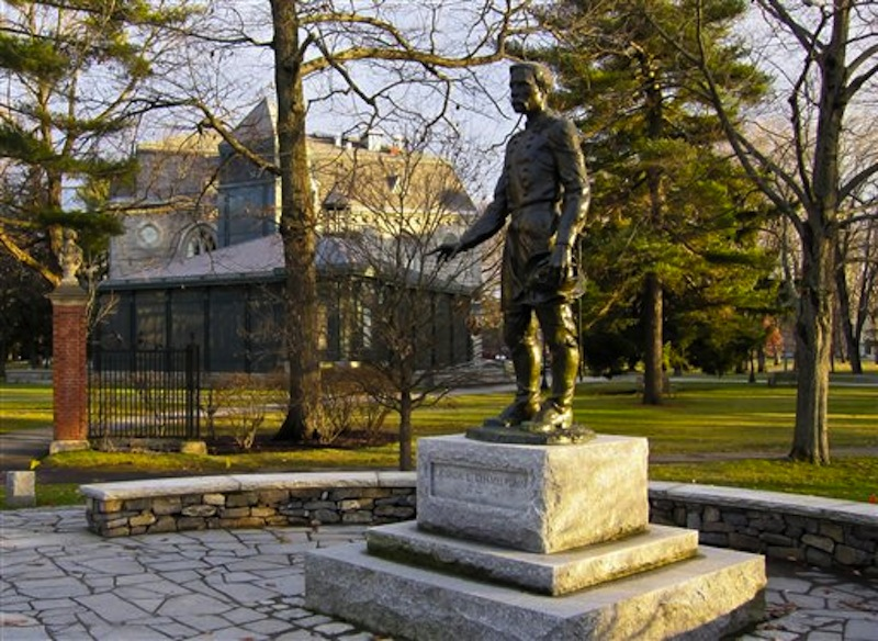 This undated photo supplied by the Brunswick Downtown Association shows a statue of Joshua Chamberlain in Brunswick, Maine, with the campus of Bowdoin College in the background. Chamberlain, a graduate of Bowdoin College and a professor there, led the Union's defense of Little Round Top at the Battle of Gettysburg during the Civil War and accepted the Confederacyís surrender at Appomattox in Virginia in 1865. (AP Photo/Brunswick Downtown Association/Benjamin Williamson) All Kinds of Stuff;Bowdoin; CSF; Simpson's;Bowdoin;CSF;Simpson's