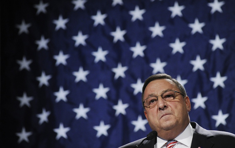 In this file photo, Gov. Paul LePage speaks during the Republican Party State Convention on May 6, 2012.