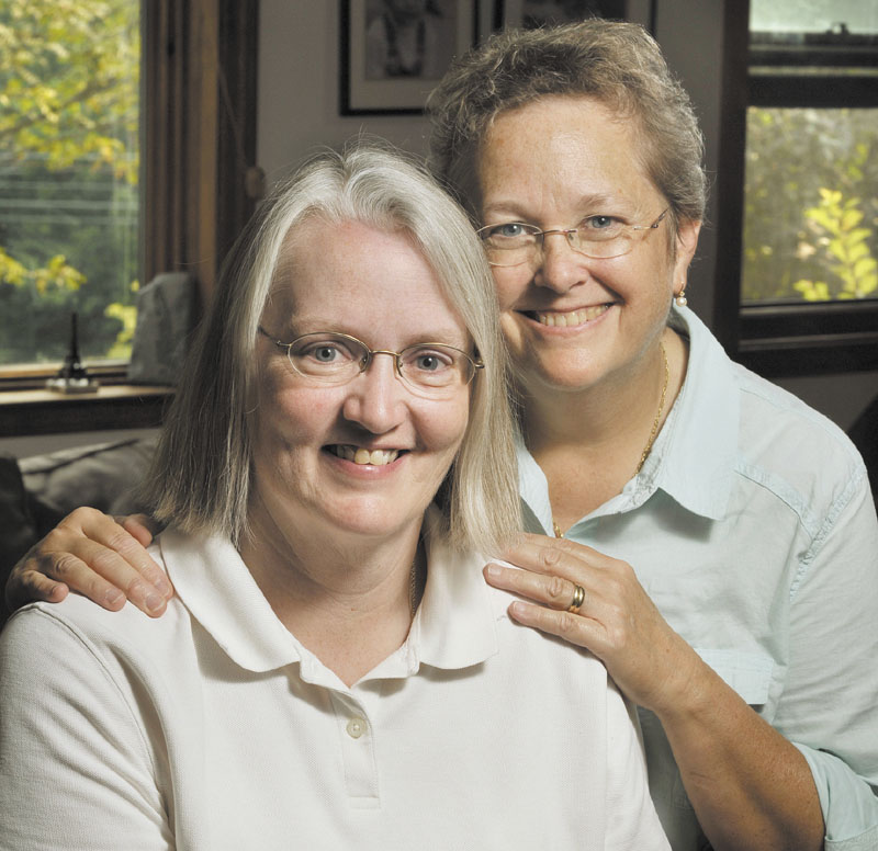Sarah Dowling, left, and Linda Wolfe have had to navigate complex legal waters to gain some of the rights available to married heterosexual couples.