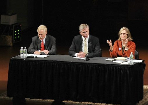 Independent Angus King, left, Republican Charlie Summers and Democrat Cynthia Dill at a Sept. 17 debate.