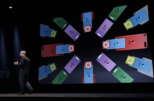 Apple CEO Tim Cook talks about the company's new iPods during an introduction of new products in San Francisco, Wednesday, Sept. 12, 2012. (AP Photo/Eric Risberg)