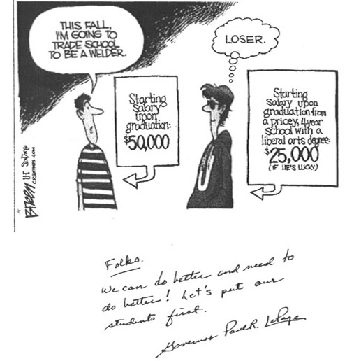 A cartoon by syndicated editorial cartoonist Steve Breen of the San Diego Union-Tribune, which was mailed to Maine principals by Gov. Paul LePage along with a hand-written note.