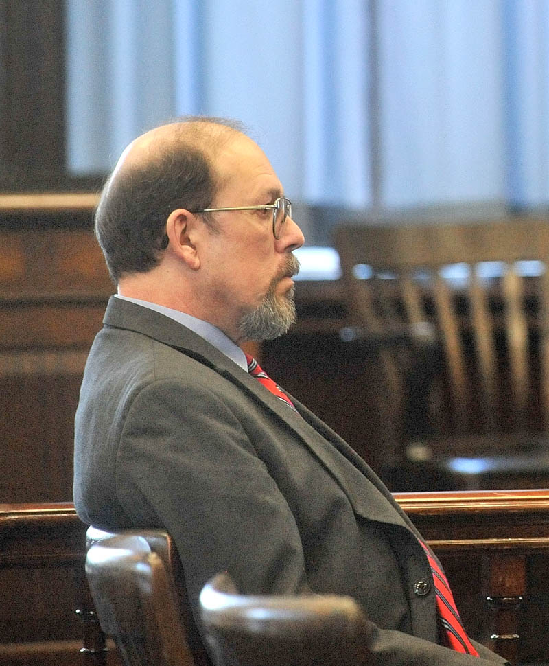 Staff photo by Michael G. Seamans Jay Mercier sits emotionless as a jury of his peers return from deliberations with the verdict of guilty in the murder of Rita St. Peter at Somerset County Superior Court in Skowhegan on Thursday.
