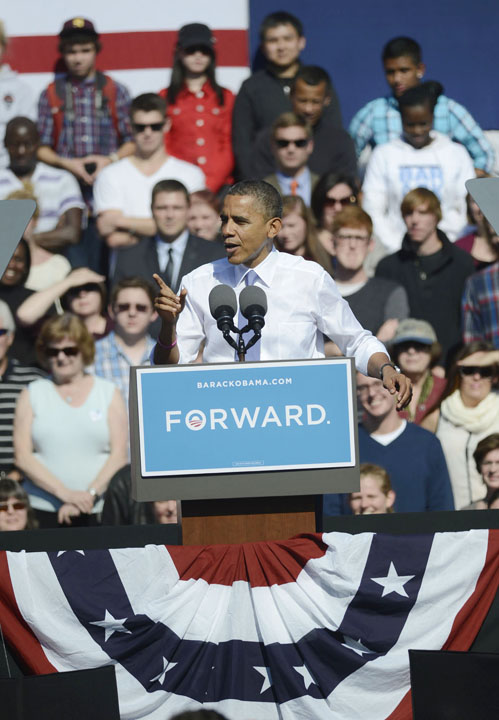 President Barack Obama speaks at Veterans Memorial Park in Manchester, N.H., on Thursday.