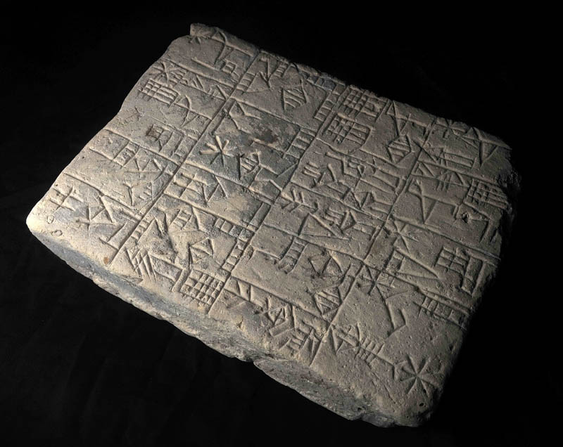 Ancient characters are etched in the stone of a cuneiform tablet from Mesopotamia, dated at 1500 B.C. The tablet is one of several items donated by Edgar Banks, an archaeologist upon whom the movie character of Indiana Jones was based.
