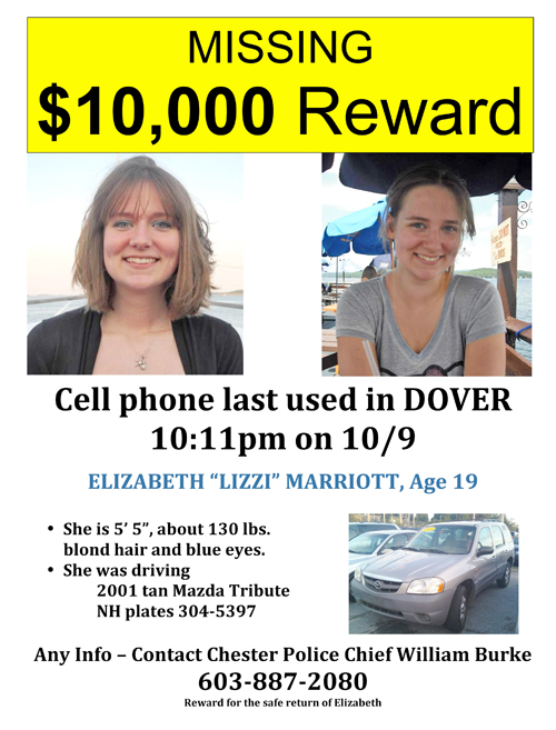 The Marriot family released this handout flyer of missing University of New Hampshire student Elizabeth