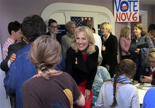 Jill Biden, wife of Vice President Joe Biden, greets campaign volunteers during a visit to a Obama campaign office Friday in Concord, N.H.
