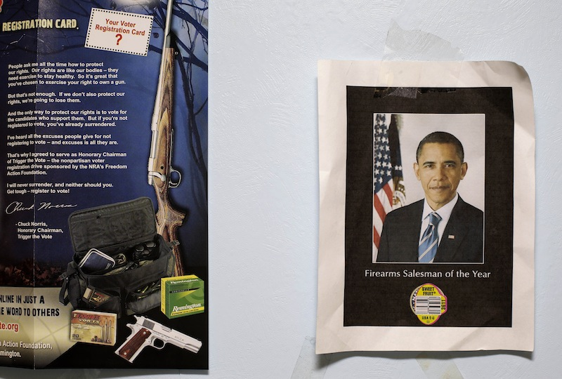 This photo taken Sept. 26, 2012 shows a picture of President Barack Obama labeled