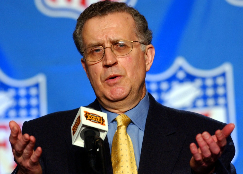 National Football League Commissioner Paul Tagliabue talks with reporters during a news conference in Houston, Friday, Jan. 30, 2004. (AP Photo/Dave Martin) Football Super bowl