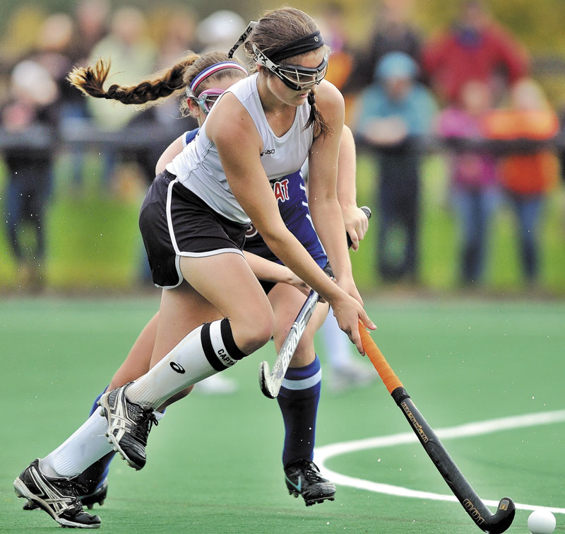 THE BIG GAME: Sarah Finnemore, 18, and the rest of the Skowhegan field hockey team take on Scarborough today in the Class A title game.