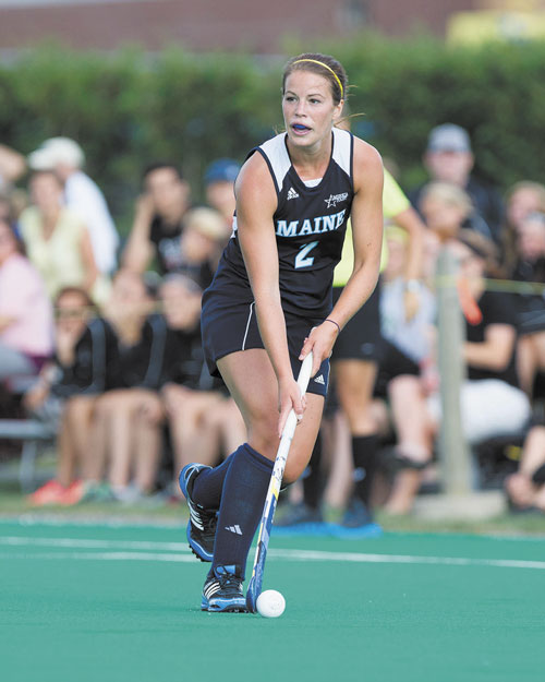 BACK IN ACTION: After suffering an ankle injury in the summer, Gardiner graduate Becca Paradee returned to the field for the University of Maine. She has one goal in 18 games this season.
