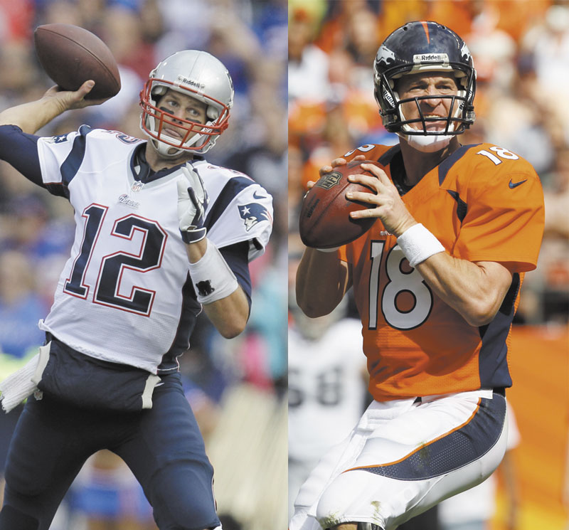 BACK AT IT: Tom Brady, left, and Peyton Manning, right, renew their storied rivalry today when the Patriots face the Broncos at Gillette Stadium in Foxborough, Mass.