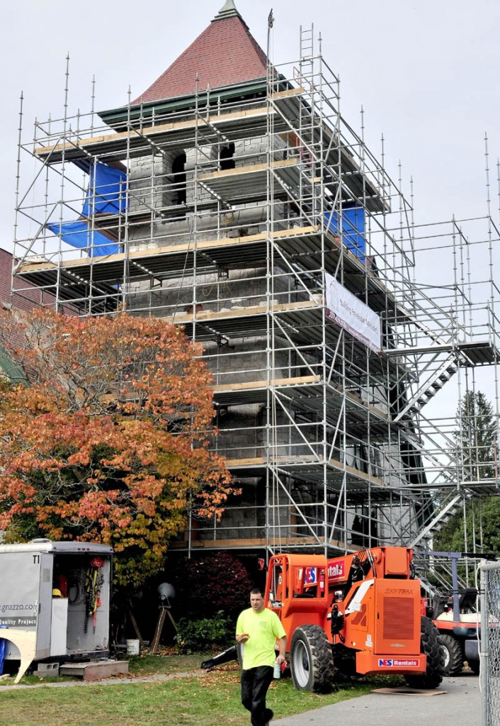 Work continues on improvements to entrances and weatherproofing the steeple on the Moody Memorial Chapel on the Good Will-Hinckley campus on Wednesday. The chapel is now owned by Kennebec Valley Community College.