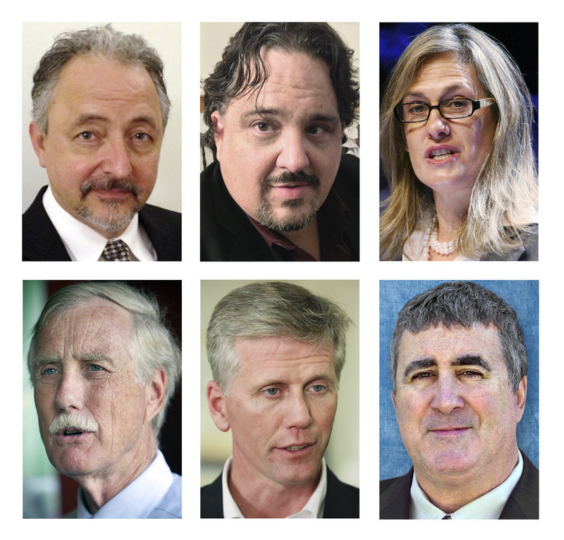 These file photos show Maine candidates for U.S. Senate in the November 2012 general election. Top row left to right: independent Danny Dalton, independent Andrew Ian Dodge and Democrat Cynthia Dill. Bottom row left to right: Independent Angus King, Republican Charlie Summers and independent Steve Woods. (AP Photos, File)