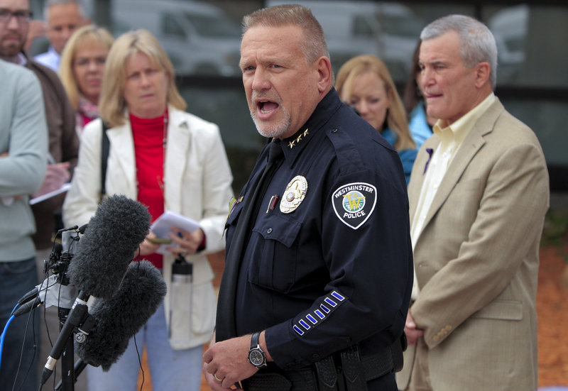 Westminster Police Chief Lee Birk announces the arrest Wednesday of Austin Reed Sigg, 17, in the death of Jessica Ridgeway.