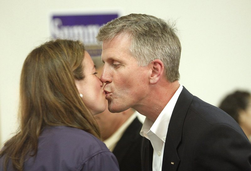 Charlie Summers gets a kiss from his wife, Ruth, on June 12, at the Maine Military Museum, the primary campaign night headquarters for the Republican US Senate candidate.