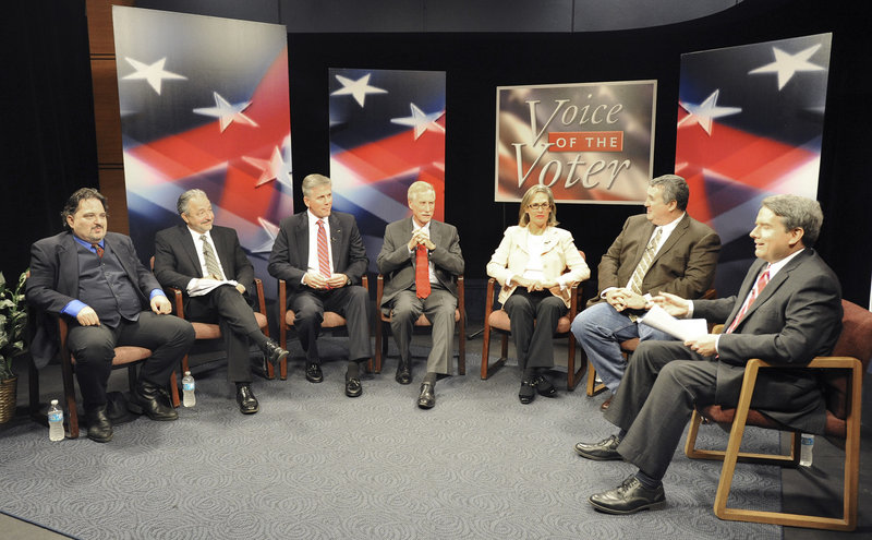 All six candidates for the open U.S. Senate seat in Maine participate in a debate moderated by Pat Callaghan, right, at the WCSH studios in Portland on Monday night. The candidates are, from left: Andrew Ian Dodge, an independent from Harpswell; Danny Dalton, independent from Brunswick; Charlie Summers, Republican from Scarborough; Angus King, independent from Brunswick; Cynthia Dill, Democrat candidate from Cape Elizabeth; and Steve Woods, independent from Yarmouth.