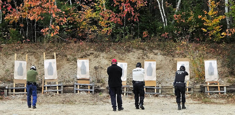 Kennebec County Sheriff's deputies do their semi-annual firearms training at the Gardiner Police firing range on Friday afternoon.