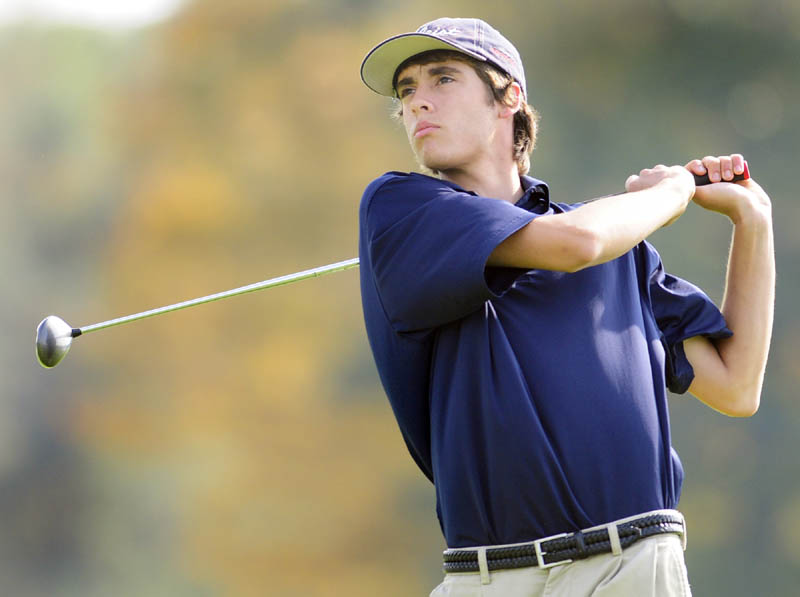 STATE COMPETITOR: Messalonskee's Taylor Clark drives off sixth hole during the Class A golf team state championships on Saturday morning at Natanis Golf Club in Vassalboro. Clark shot 90 and the Eagles finished ninth with a score of 384.