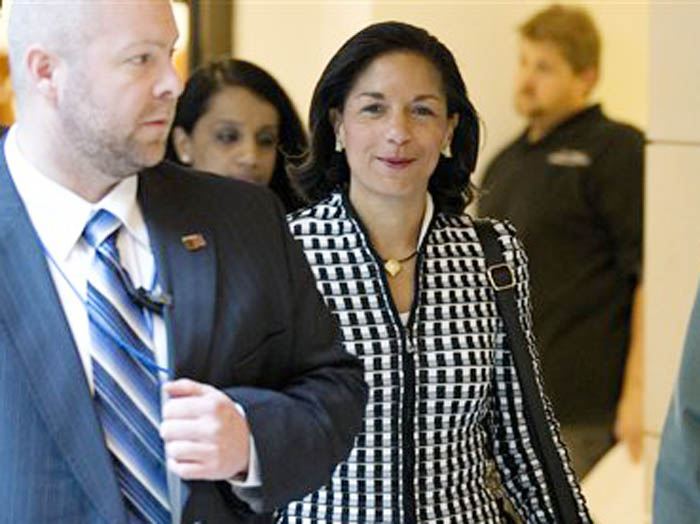 UN Ambassador Susan Rice arrives for a meeting on Capitol Hill in Washington with Sen. Susan Collins, R- Maine, and Sen. Corker, R-Tenn., to discuss the Benghazi terrorist attack.