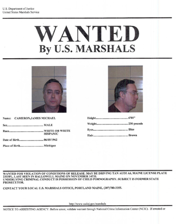 The US Marshals Service wanted poster for James Cameron.