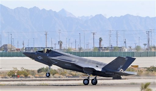The 3rd Marine Aircraft Wing's first F-35B touches down last Friday afternoonat Marine Corps Air Station Yuma in Yuma, Ariz. The plane belongs to Marine Fighter Attack Squadron 121.