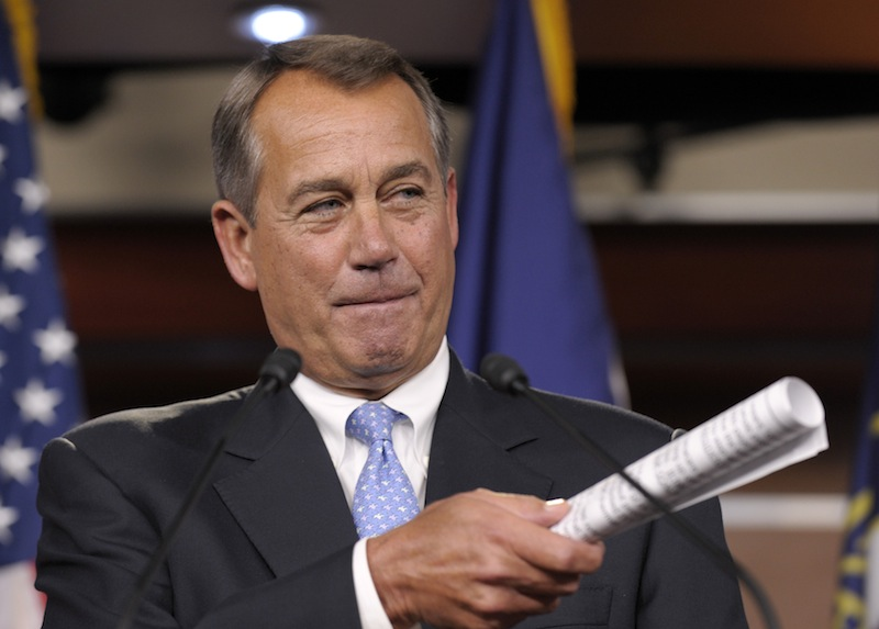 This Nov. 9, 2012 file photo shows House Speaker John Boehner of Ohio gesturing during a news conference on Capitol Hill in Washington. It's entirely possible that lawmakers and the White House will reach a deal to avert an avalanche of tax increases and deep cuts in government programs before a Jan. 1 deadline. To do so, however, they'll have to resolve serious political and fiscal dilemmas that have stymied them time after time, despite repeated vows to overcome them. (AP Photo/Susan Walsh, File)