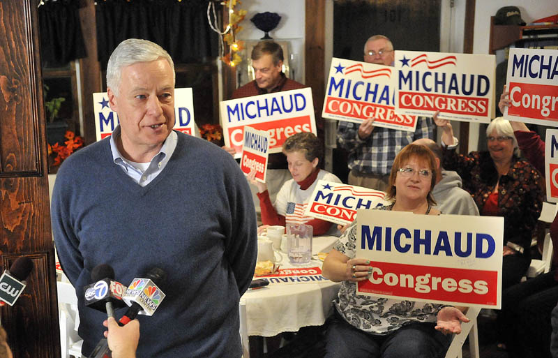 Mike Michaud speaks to supporters after winning another term as the representative from the 2nd Congressional District during a campaign party at Grass Roots Cafe and Catering on Main Street in East Millinocket on Tuesday.
