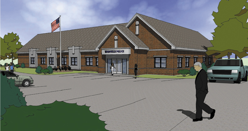 An artist's conception of the proposed Waterville police department.