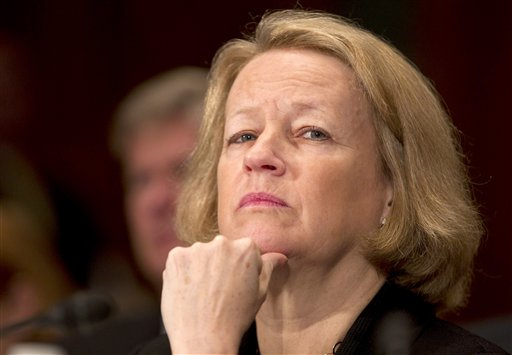 A 2011 photo of Securities and Exchange Commission Chair Mary Schapiro testifying on Capitol Hill.