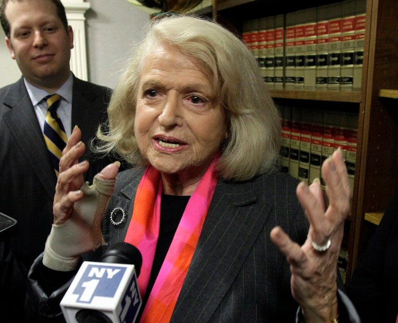 This Oct. 18, 2012 file photo shows Edith Windsor interviewed at the offices of the New York Civil Liberties Union, in New York. The fight over gay marriage is shifting from the ballot box to the Supreme Court. Three weeks after voters in three states backed it, the justices meet Friday to decide whether they should deal sooner rather than later with the idea that the Constitution gives people the right to marry regardless of a couple's sexual orientation. (AP Photo/Richard Drew, File)