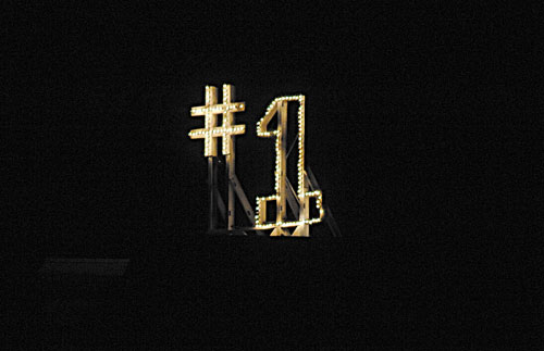 TOP OF THE HEAP: The No. 1 sign is lit on the Notre Dame campus Sunday, in South Bend, Ind. A tradition linked to Notre Dame becoming the No. 1 football team in the country is the lighting of the sign atop of a former student dormitory on the campus. Before Sunday, Notre Dame was last ranked No. 1 in 1993.