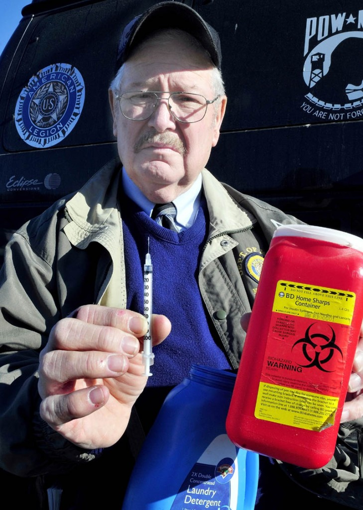 Don Simoneau, who is diabetic, has for five years made an effort to put into place proper disposal practices for medical syringes. Simoneau is an advocate for patients to use approved containers, at right, versus placing needles in plastic household containers.