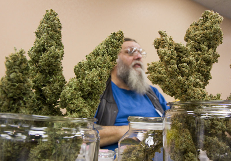 Sage Peterson of Canuvo Medical Marijuana Dispensary in Biddeford displays medical marijuana his company grows and supplies, during the Home Grown Maine trade show for medical marijuana vendors, caregivers and others, at the Holiday Inn By The Bay in Portland on Saturday.