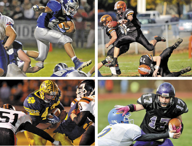 OLD FOES: Lawrence's Anthony Sementelli, top left, Winslow's Joe Hopkins, top right, Mt. Blue's Chad Luker, bottom left, Waterville's Brian Bellows will lead their teams, all former members of the Pine Tree Conference, will play in regional title games this weekend.