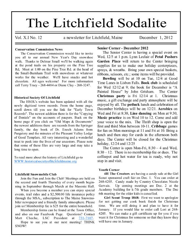 The front page of the December 2012 issue of The Litchfield Sodalite, the town's newsletter.